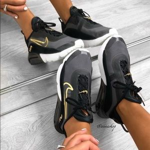 Nike Air Max 2090 black/gold suede shoes